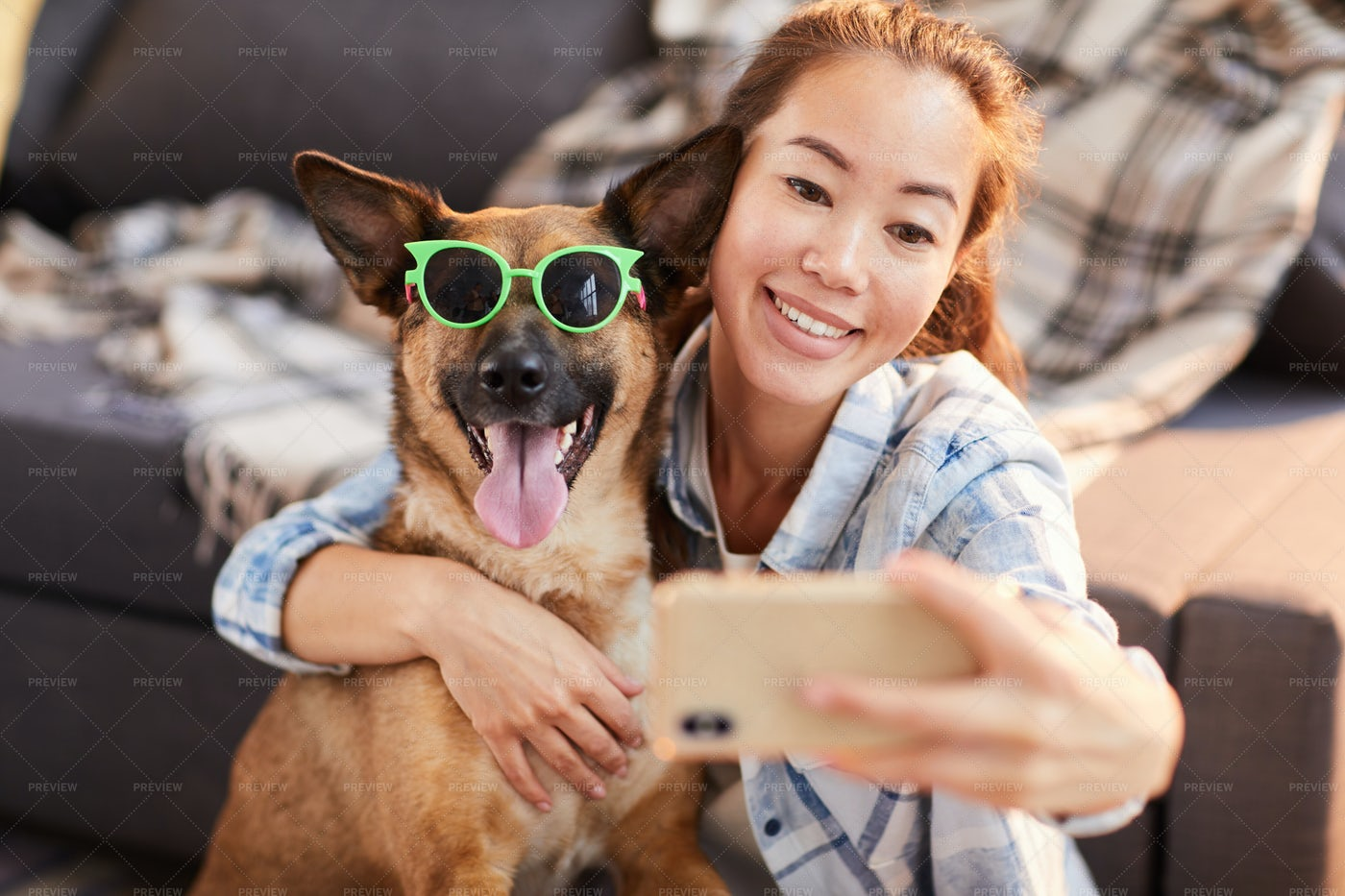 Funny Portrait With Dog: Stock Photos