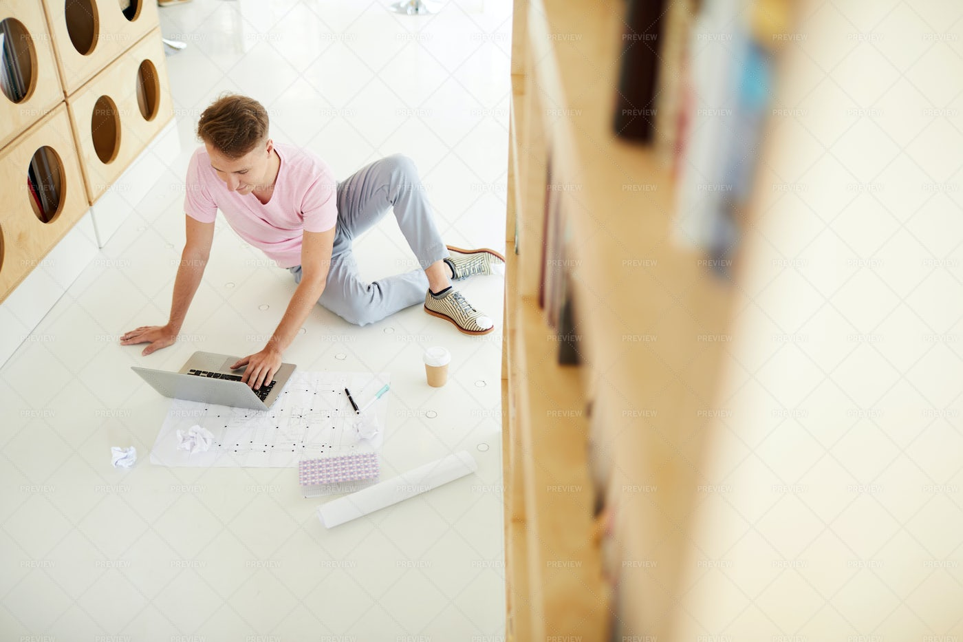 Architecture Student In Library: Stock Photos