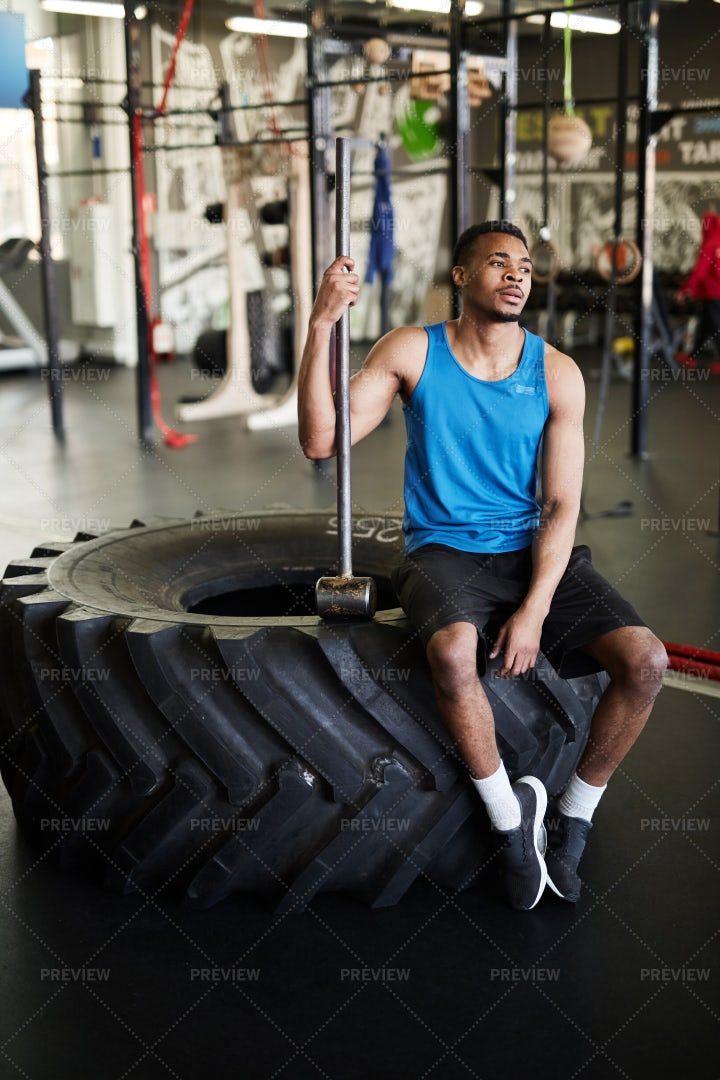 Man Rests In Gym: Stock Photos