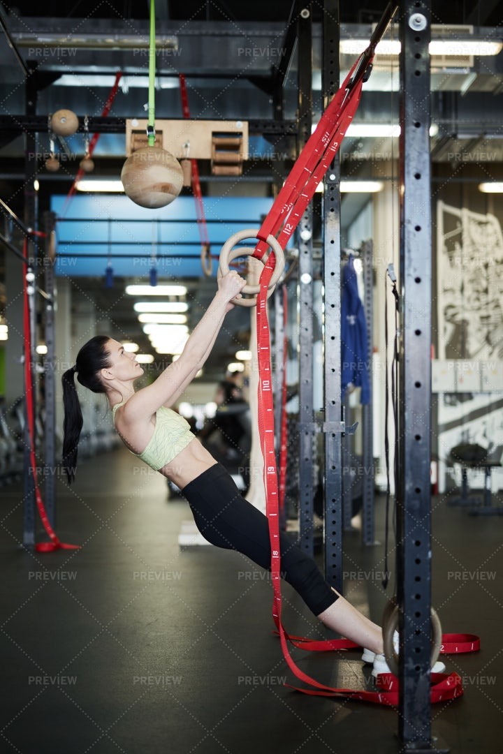Sportswoman Working Out In Gym: Stock Photos