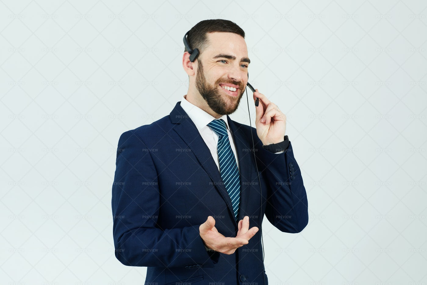Call Center Operator Answering Phone: Stock Photos