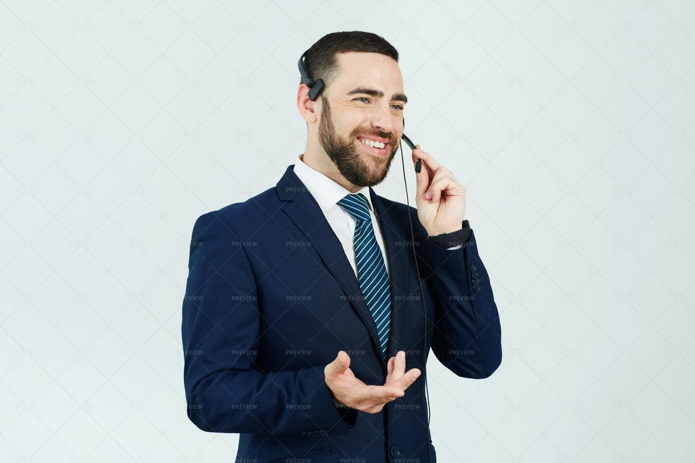 Call Center Operator Answering Phone: Stock Photos