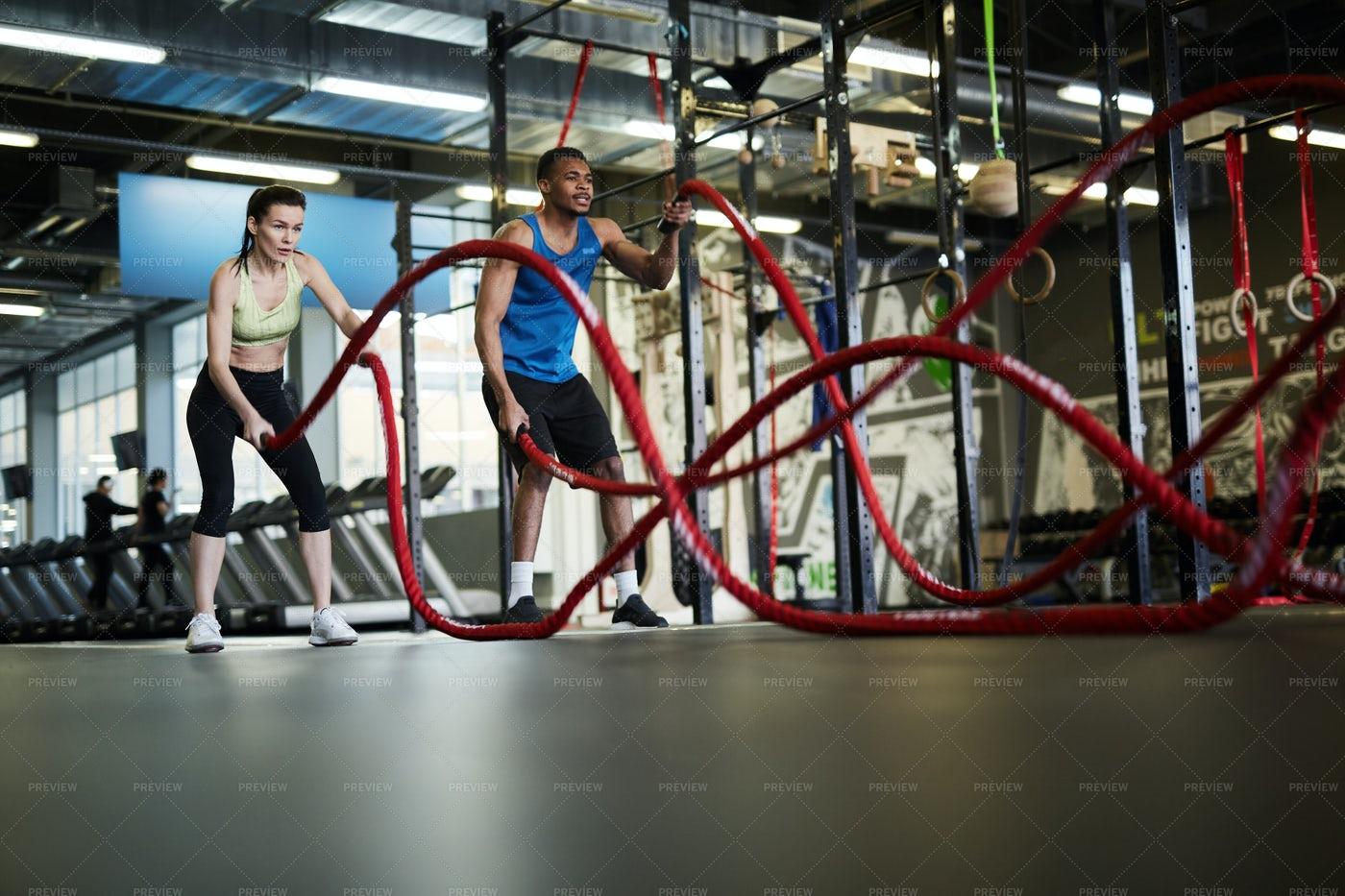 Battle Ropes Exercise: Stock Photos
