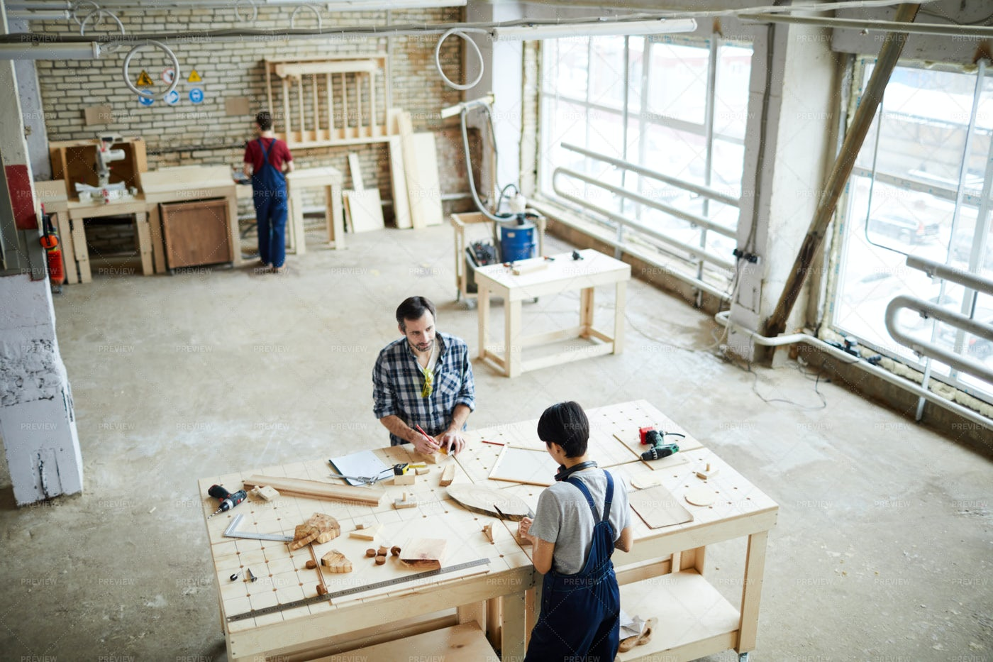 Carpenters Making Wooden Frames: Stock Photos