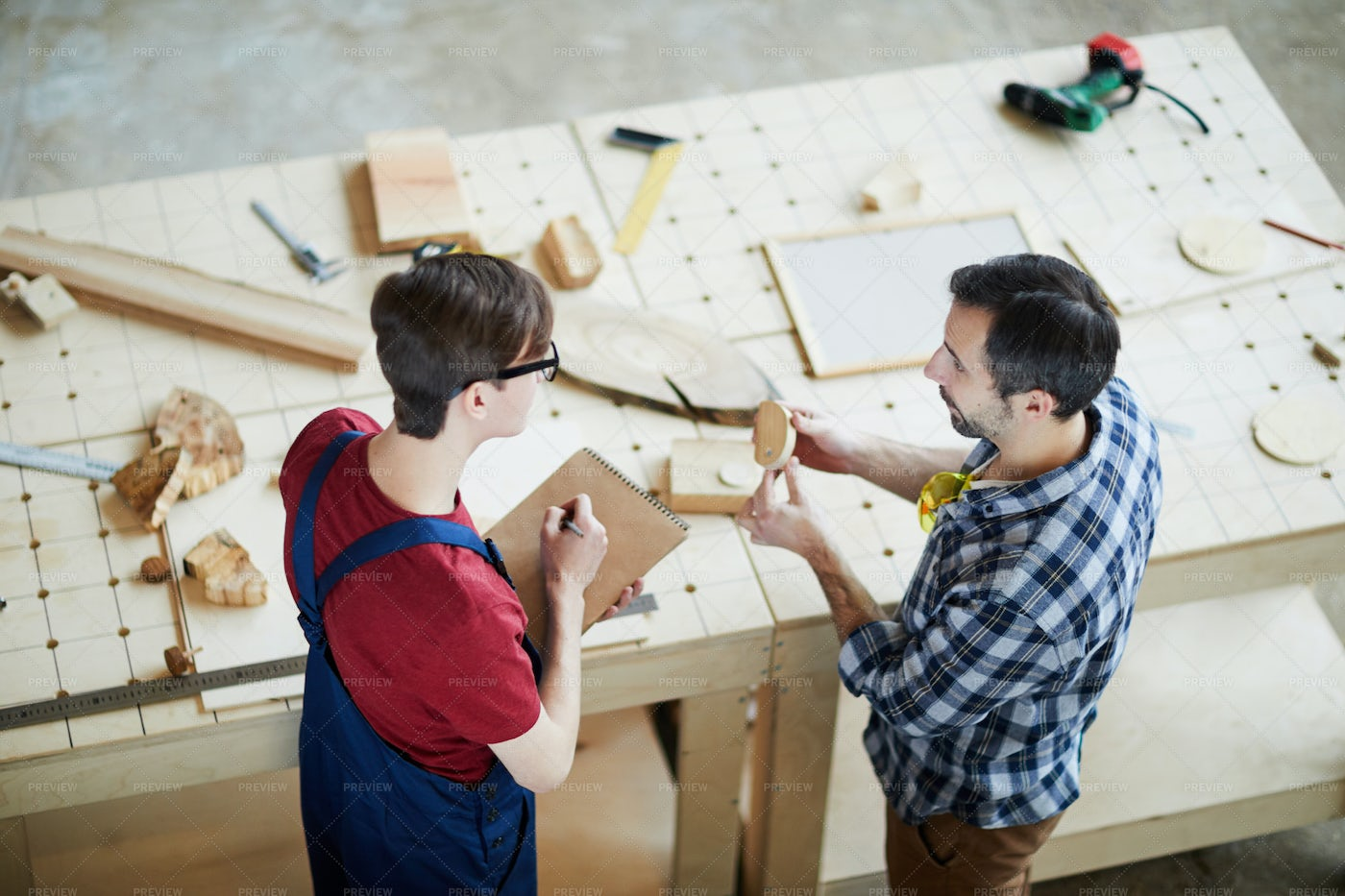 Man Showing Carpentry Student: Stock Photos