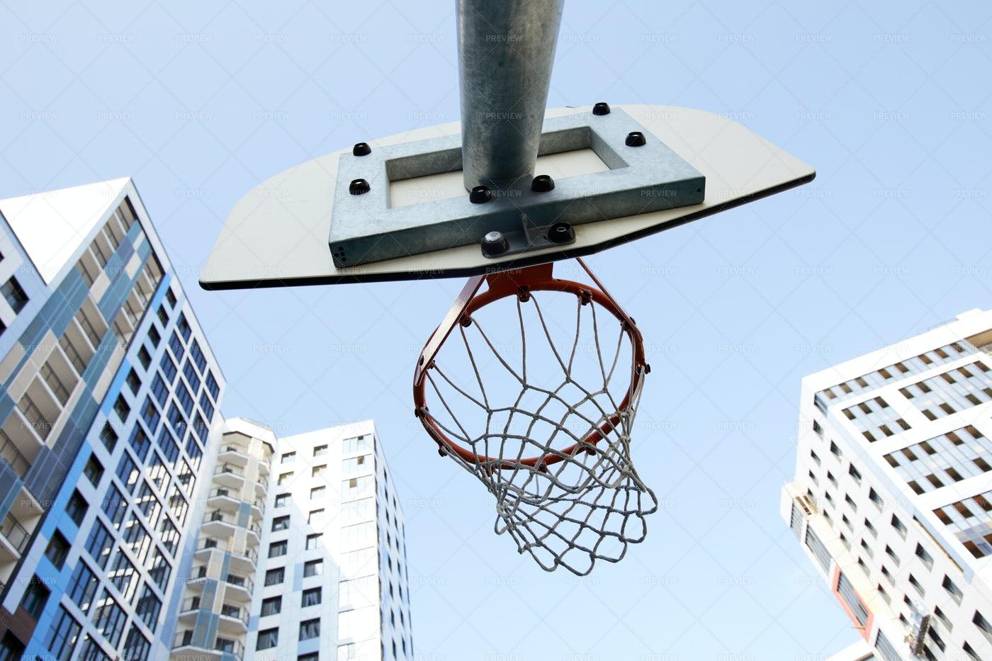 Basketball Hoop Low Angle: Stock Photos