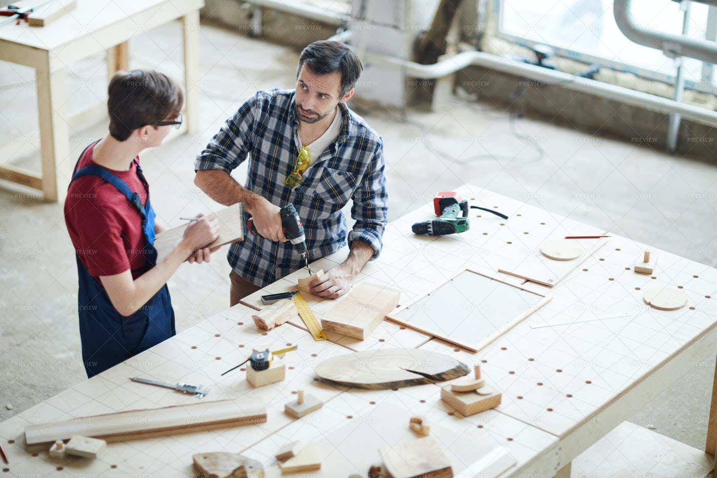 Showing How To Make Hole In Wood: Stock Photos