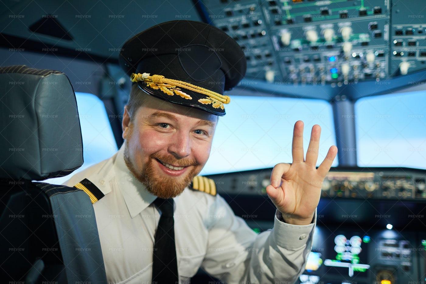 Positive Airplane Captain: Stock Photos