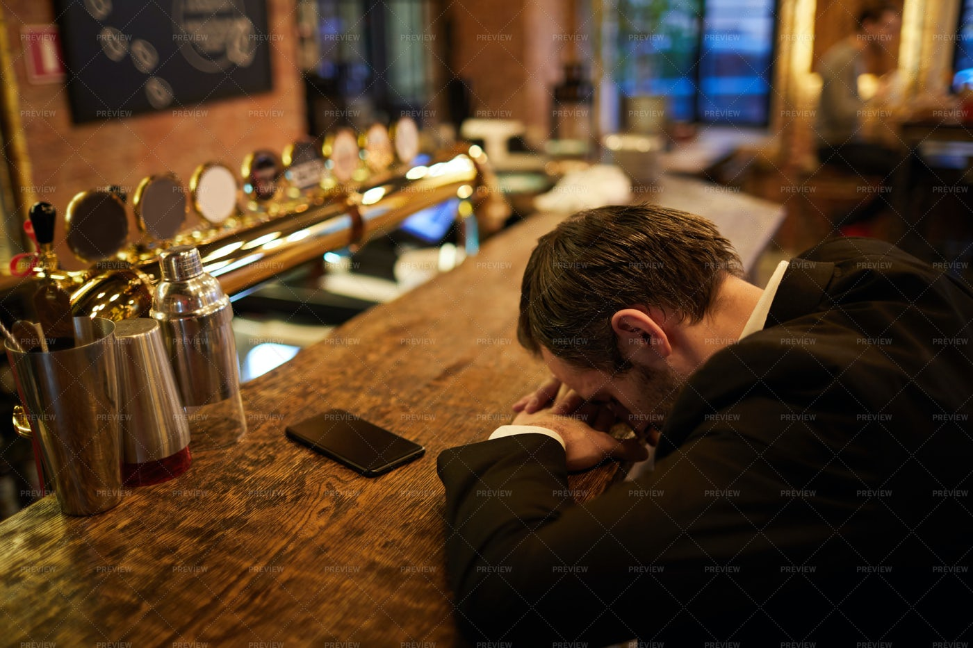 Drunk Businessman In Bar: Stock Photos