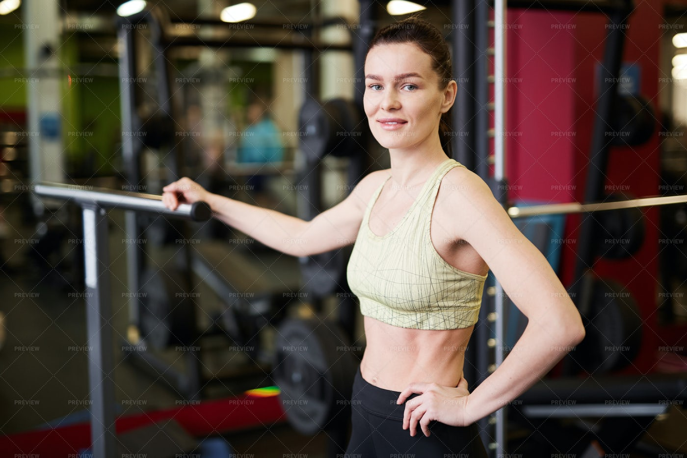 Female Fitness Coach Posing In Gym: Stock Photos