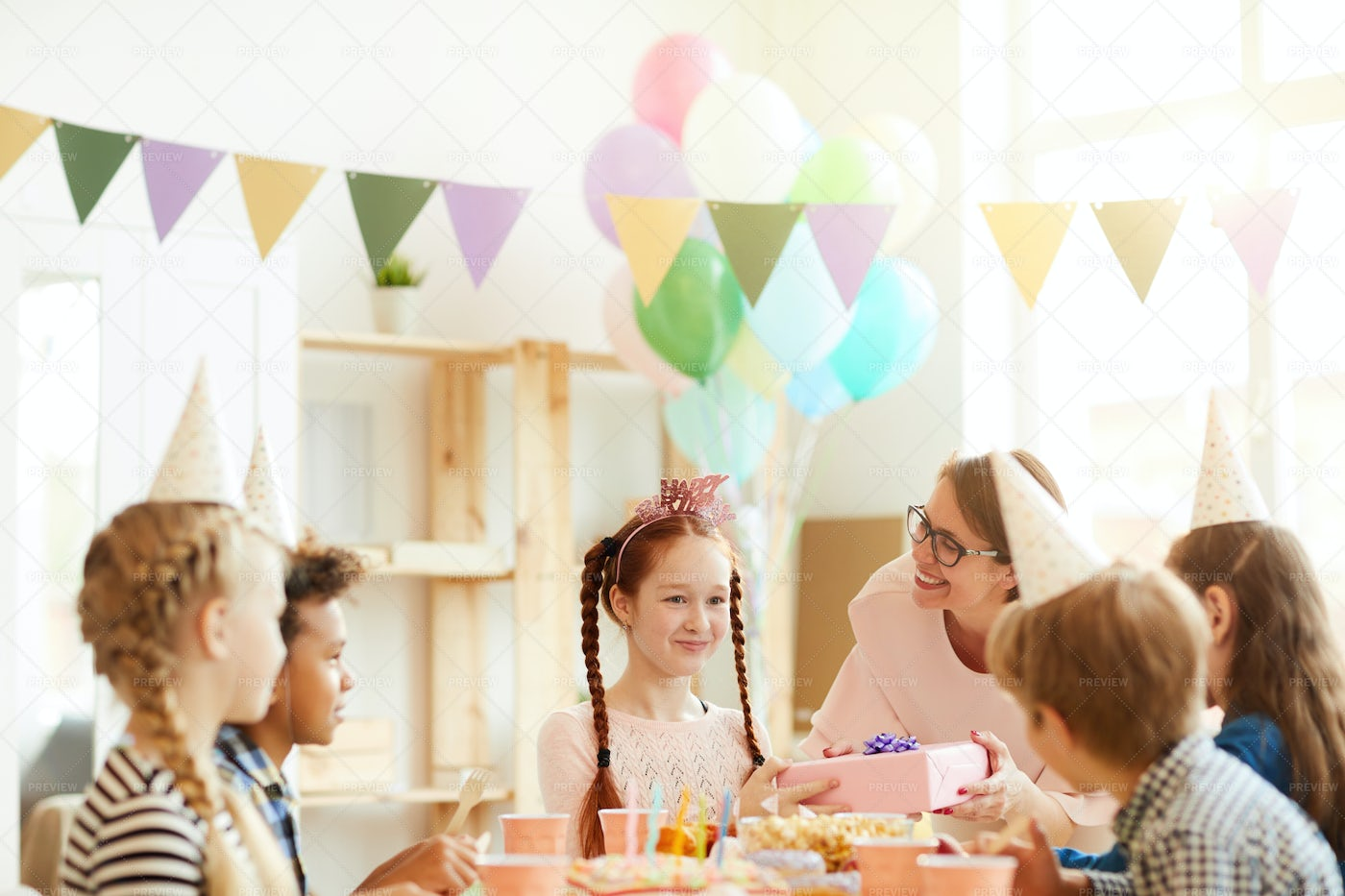 Red Haired Girl At Birthday Party: Stock Photos