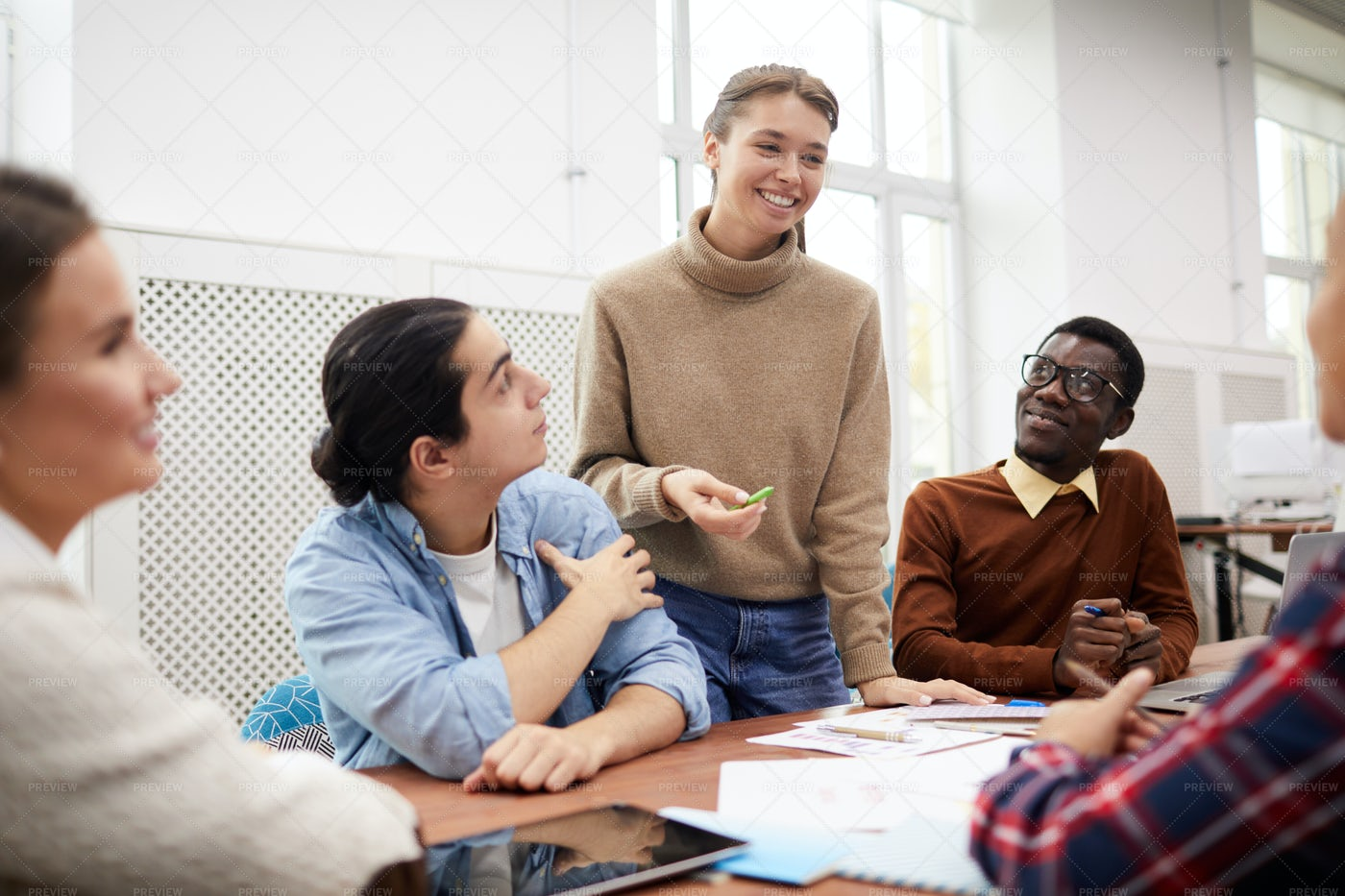 College Students Discussing: Stock Photos