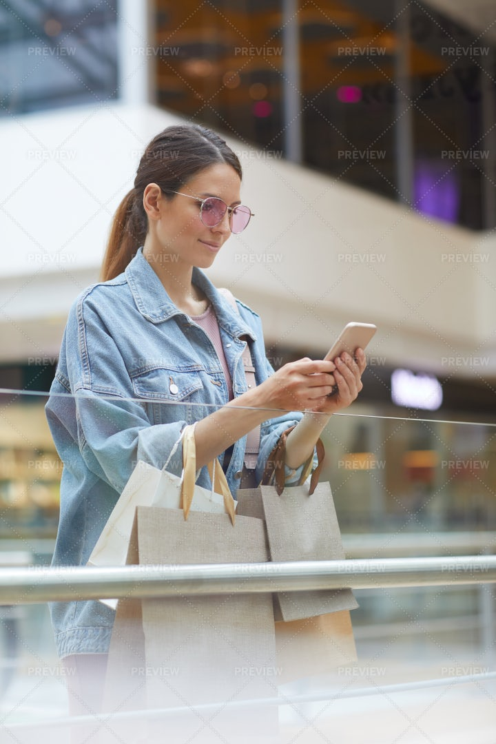 Making Selfies In Mall: Stock Photos
