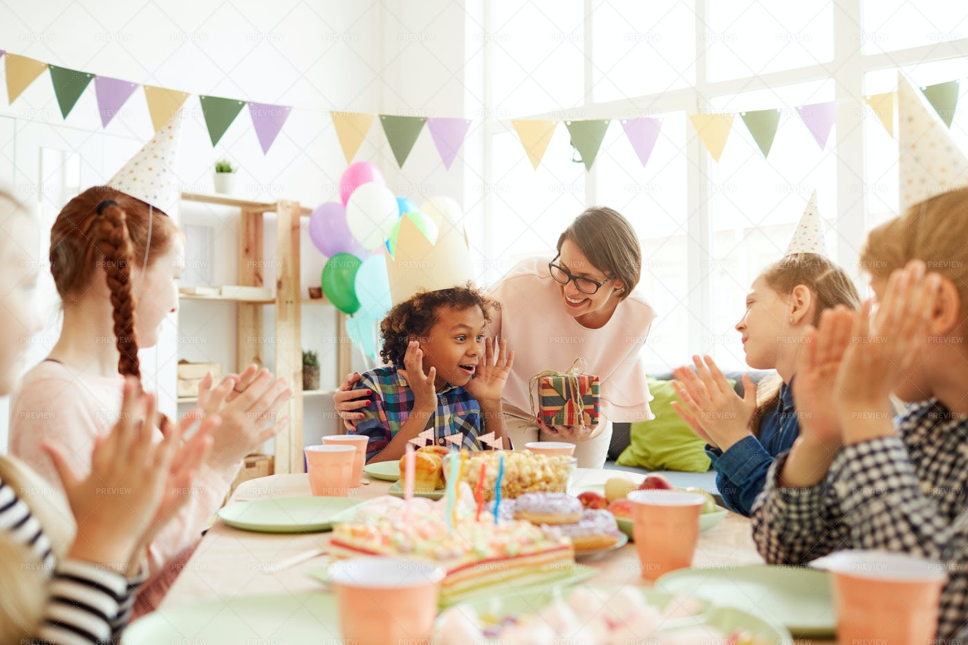 Excited Boy At Birthday Party: Stock Photos
