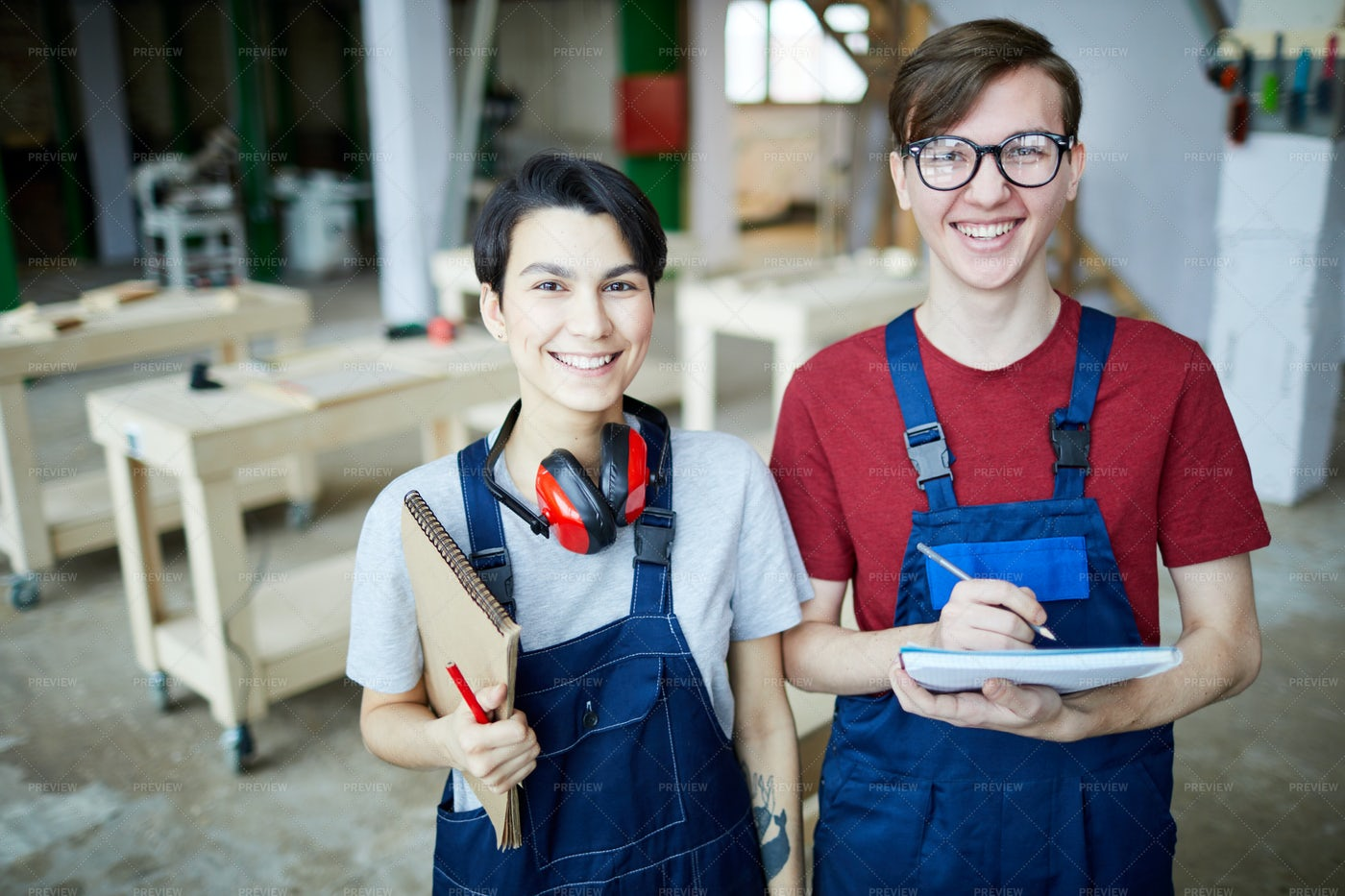 Satisfied Students In Carpentry Class: Stock Photos