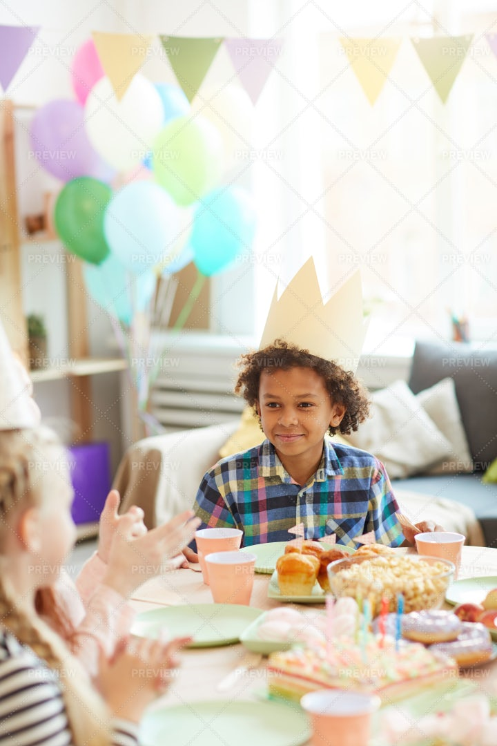 Cute African-American Boy At Party: Stock Photos