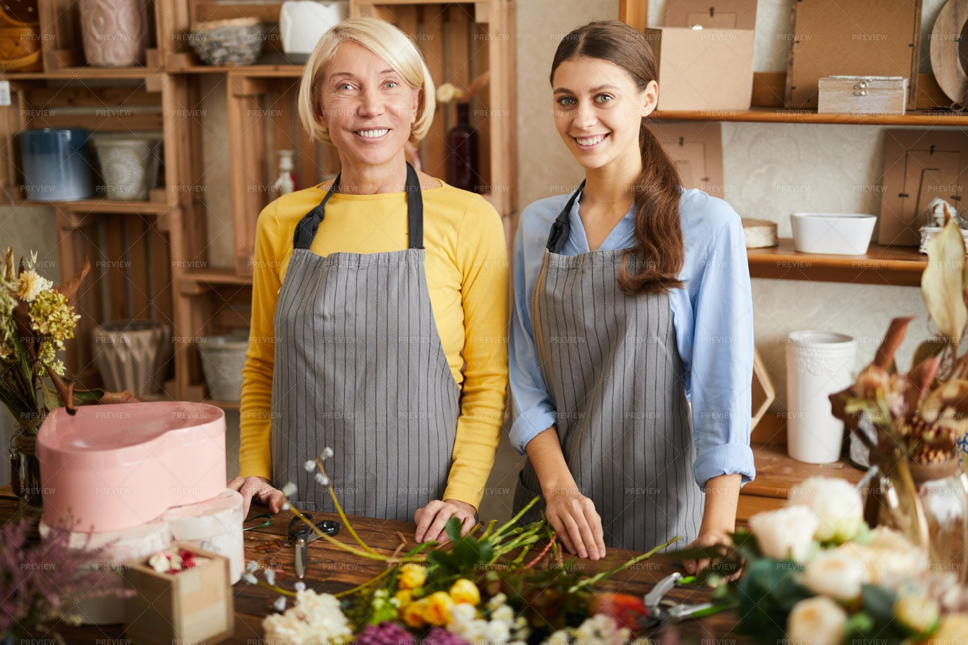 Two Florists In Shop: Stock Photos