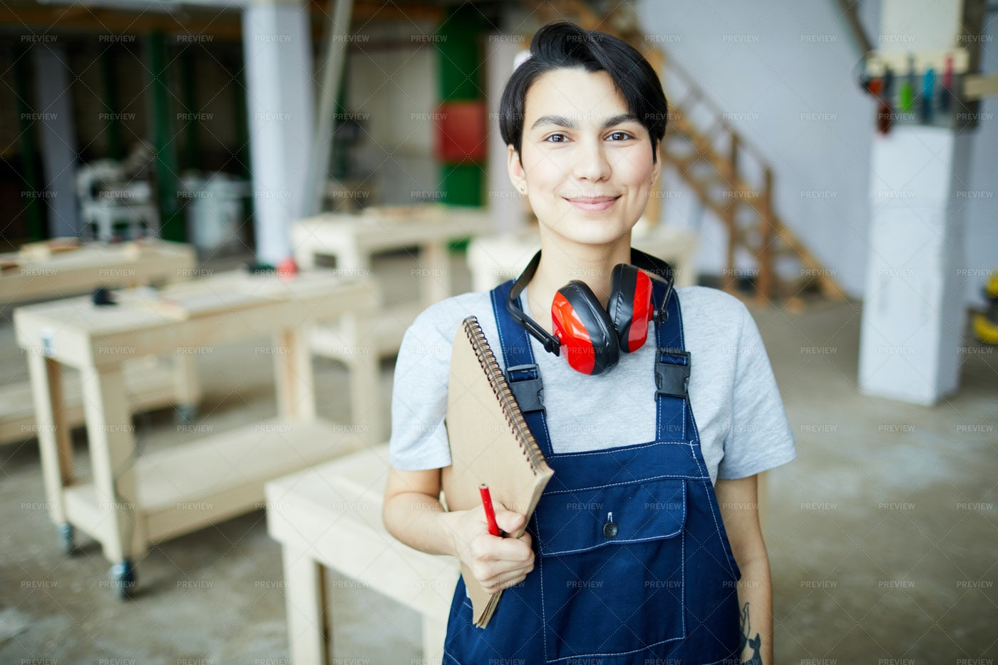 Woman In Workshop: Stock Photos