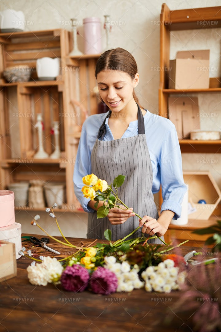 Florist In Shop: Stock Photos