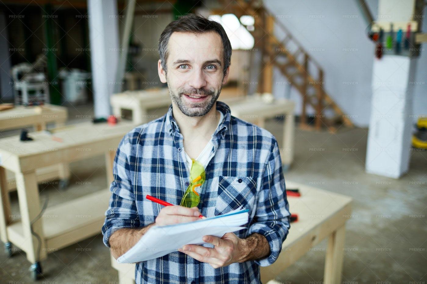Carpenter Developing Design: Stock Photos