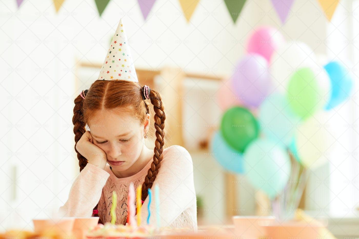 Sad Girl Alone At Party: Stock Photos