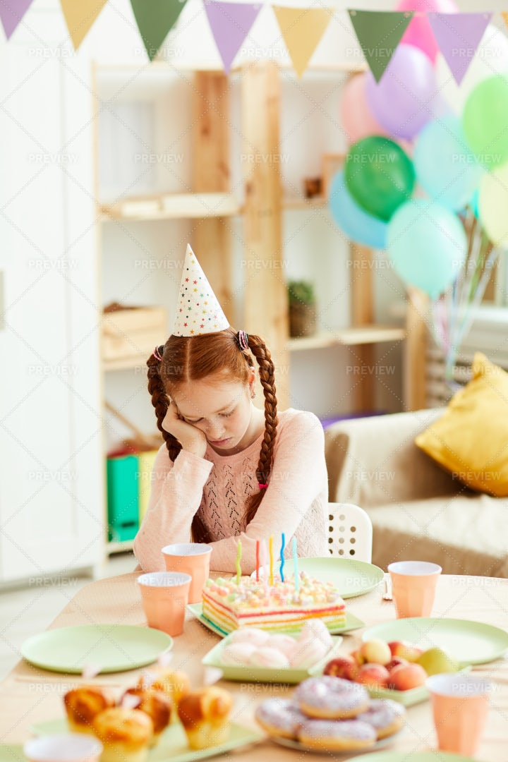Girl Alone At Birthday Party: Stock Photos