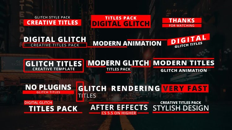 15 Glitch Titles: After Effects Templates