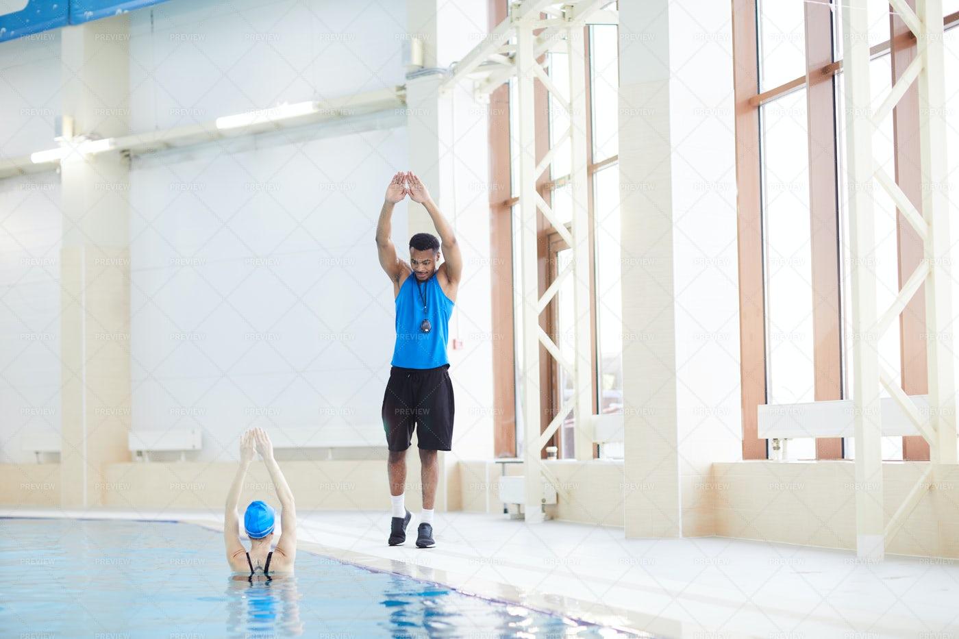 Aqua Fitness In Pool: Stock Photos