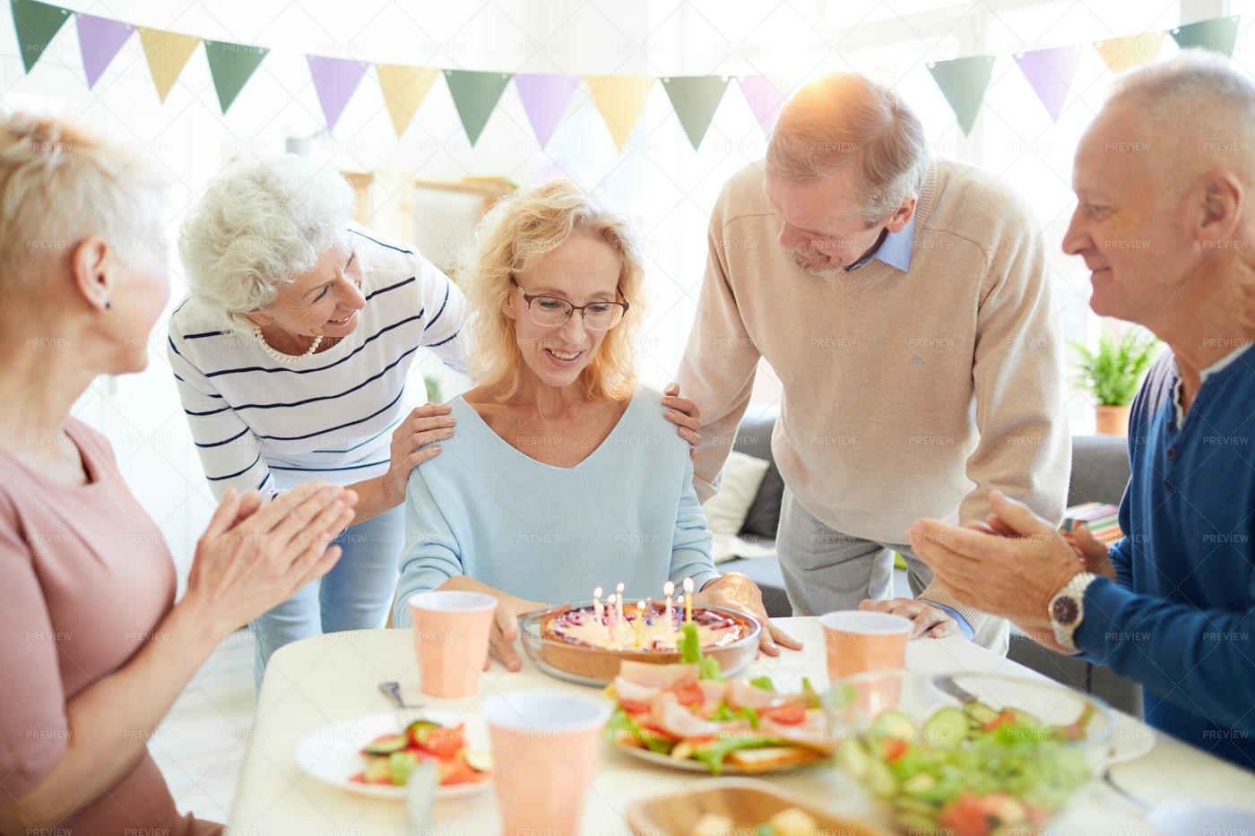 Sweet Cake For Birthday Woman: Stock Photos