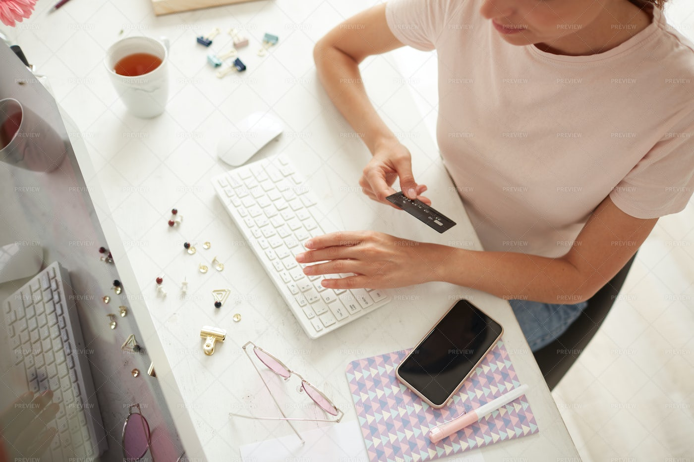 Checking Order Before Online...: Stock Photos