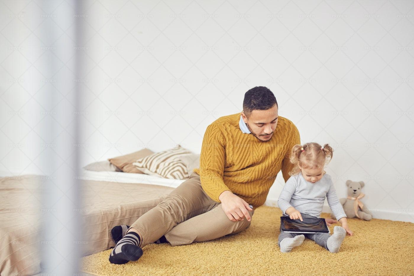Contemporary Father Teaching...: Stock Photos
