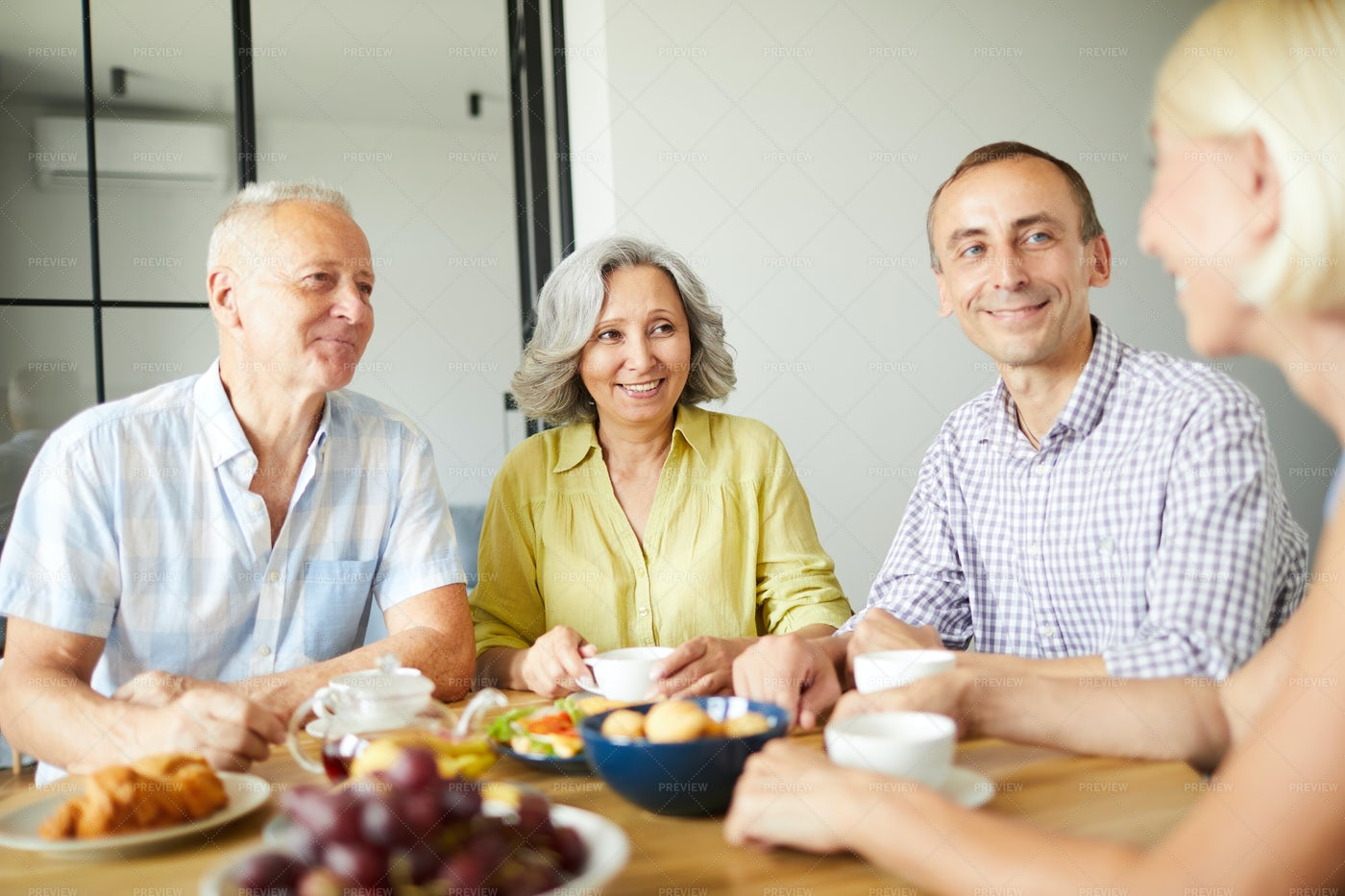 Group Of Senior Friends At Lunch: Stock Photos