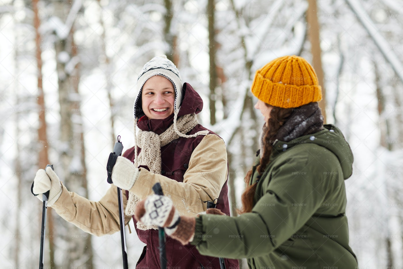 Cheerful Couple Skiing In Forest: Stock Photos