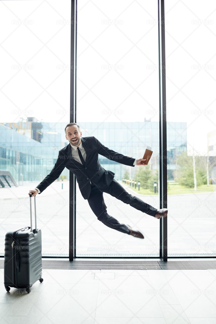 Leaping In Airport: Stock Photos