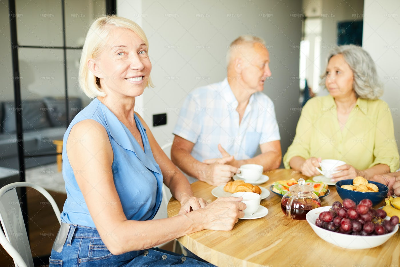 Smiling Adult Woman At Lunch: Stock Photos