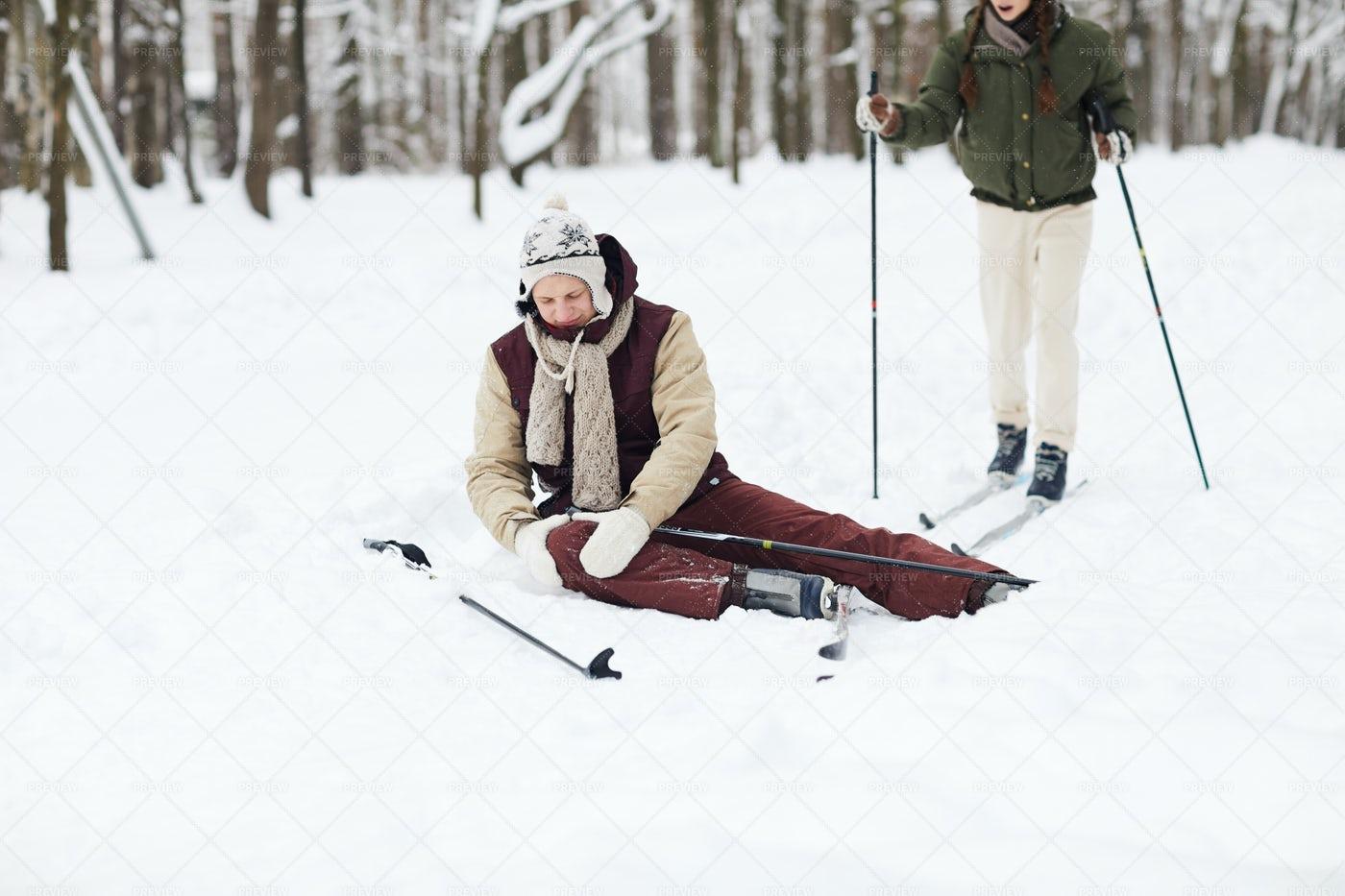 Injury During Skiing: Stock Photos
