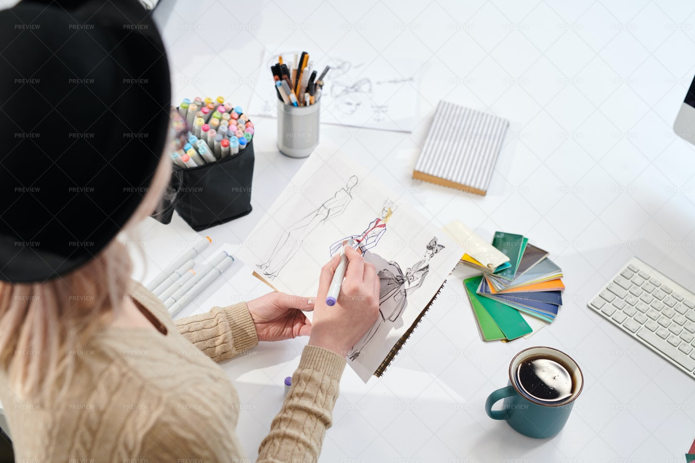Designer Drawing Models: Stock Photos