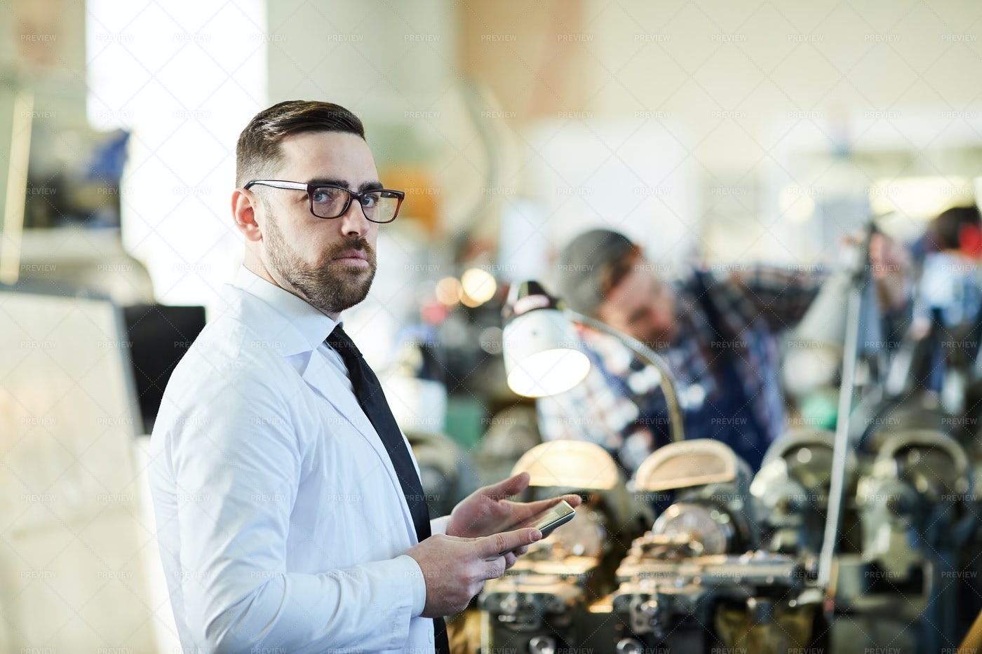 Factory Manager Holding  Tablet: Stock Photos