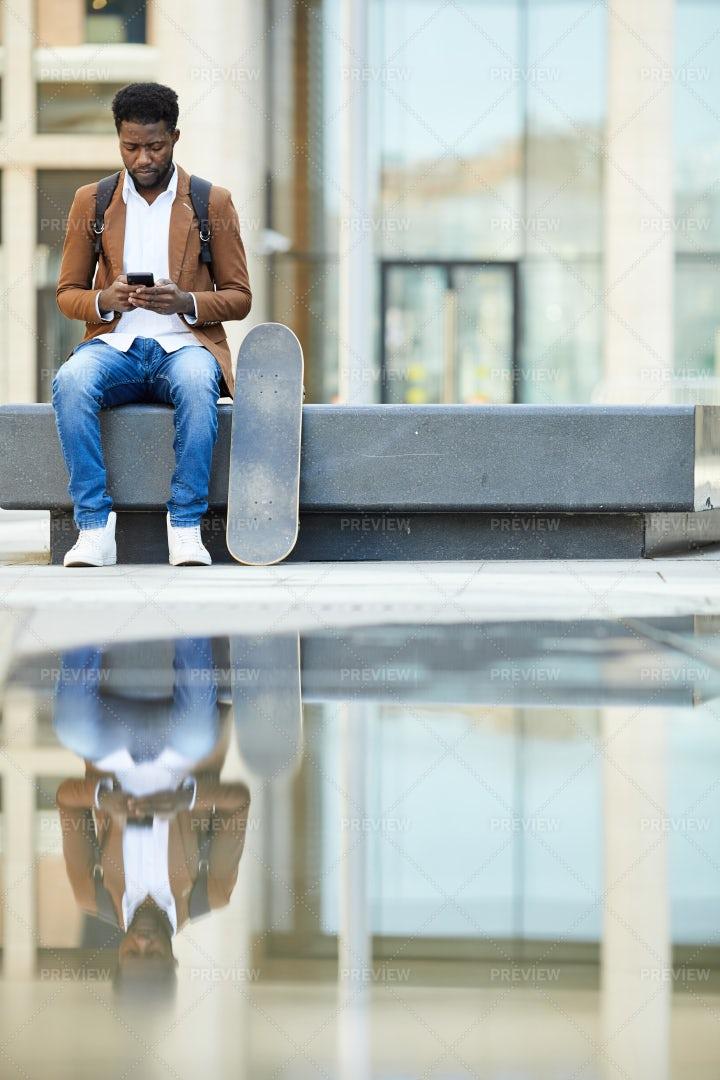 African-American Man Using...: Stock Photos