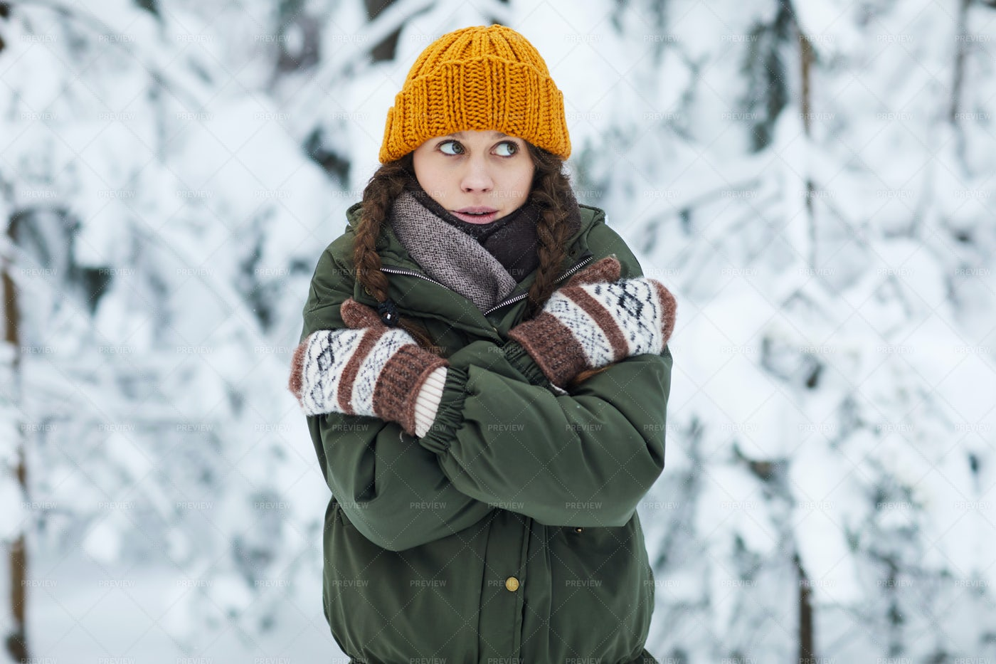 Young Woman Freezing In Winter: Stock Photos
