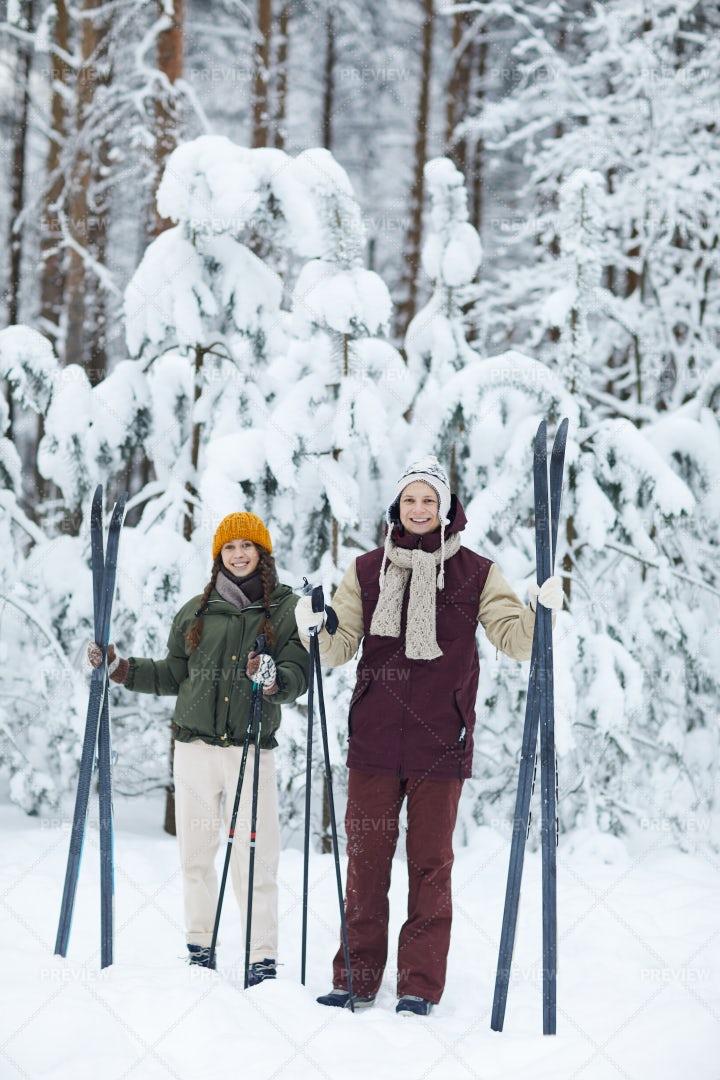 Sportive Couple Skiing In Winter: Stock Photos