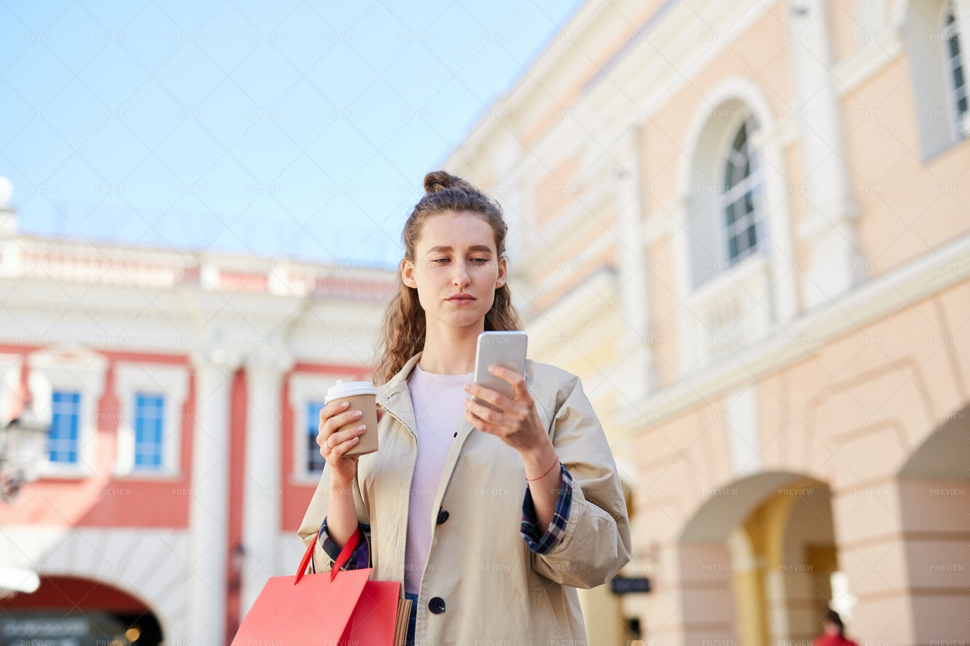 Young Woman Checking Sms: Stock Photos