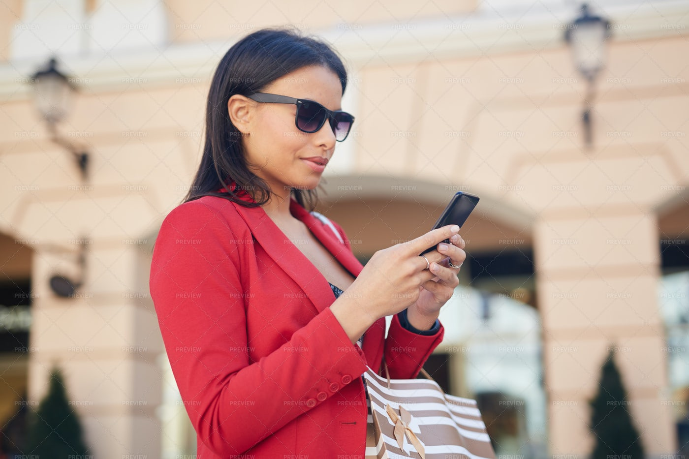 Answering Sms On Move: Stock Photos