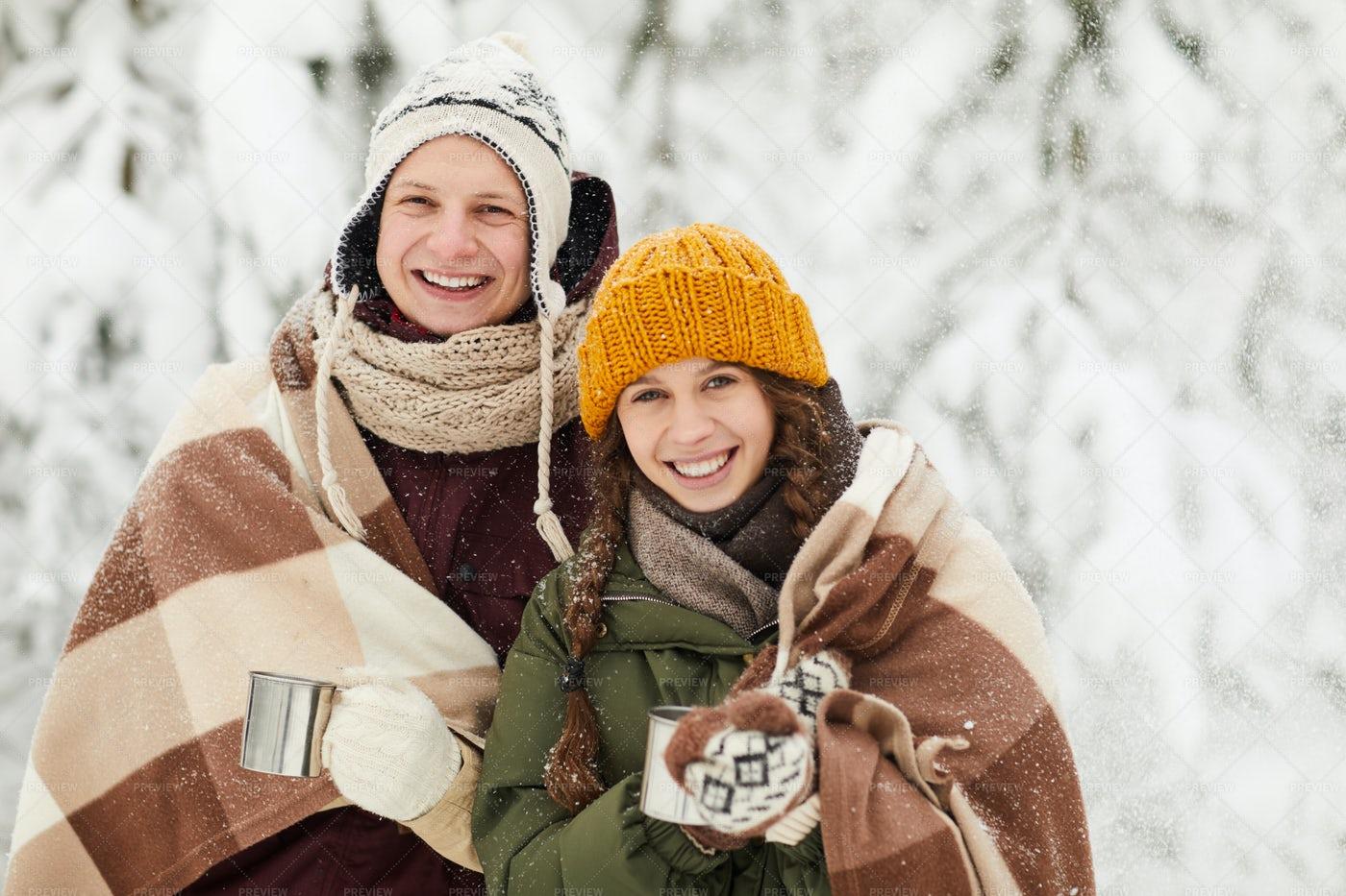 Young Couple Posing In Winter: Stock Photos