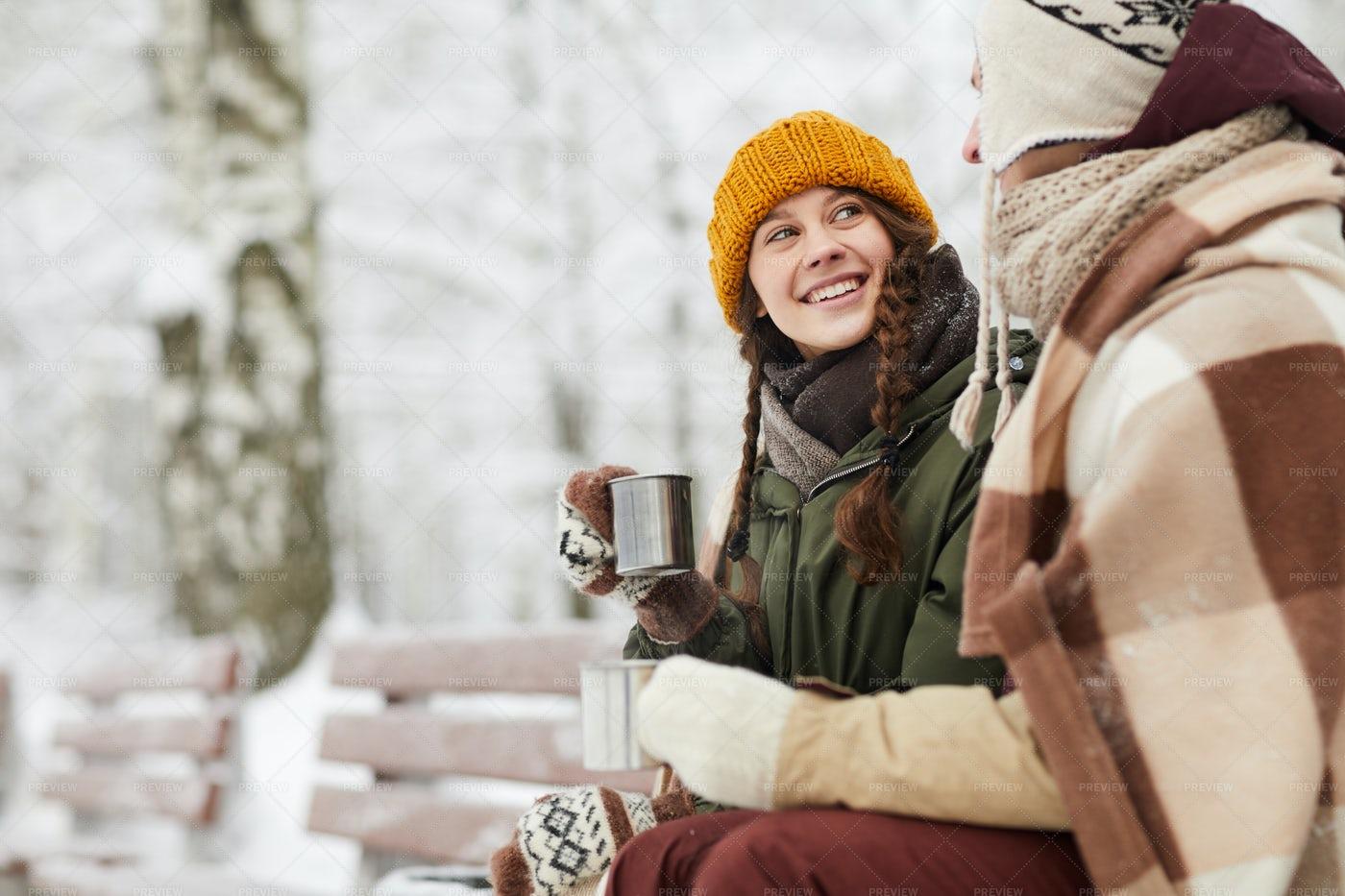 Loving Couple In Winter Park: Stock Photos