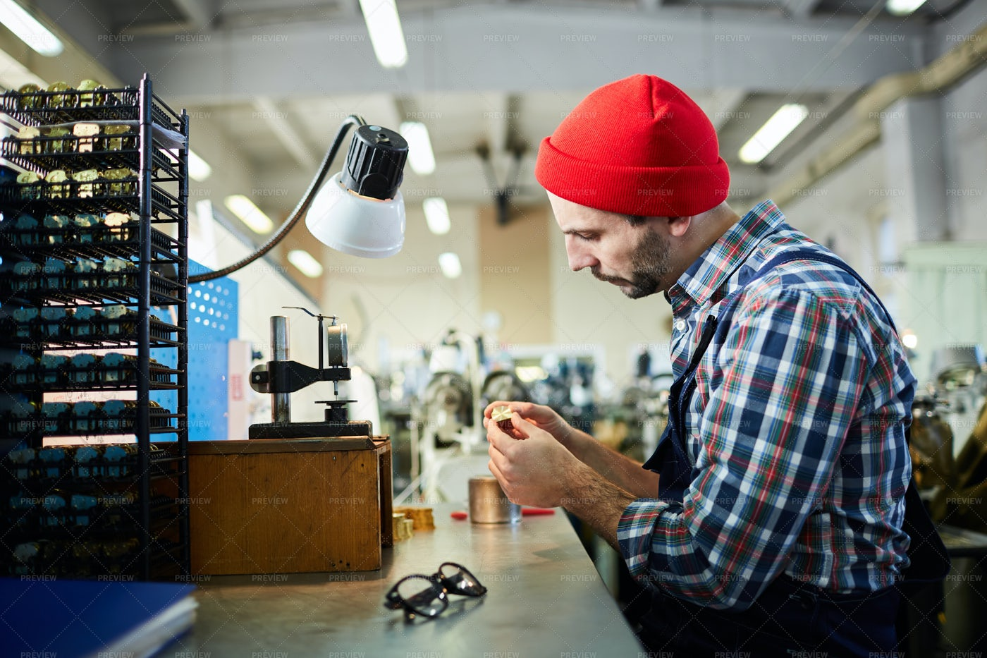 Watchmaker At Factory: Stock Photos