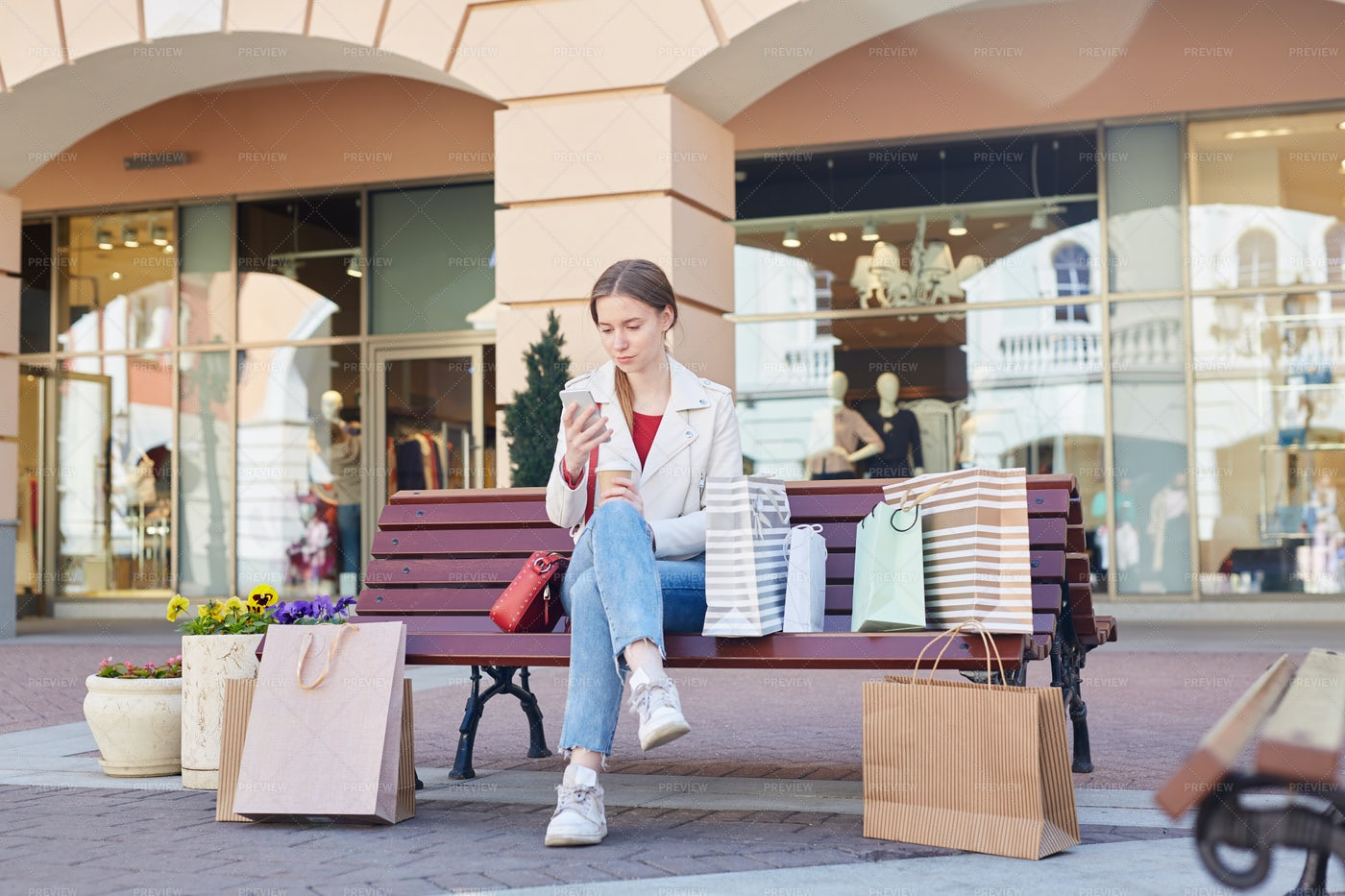 Woman After Shopping: Stock Photos