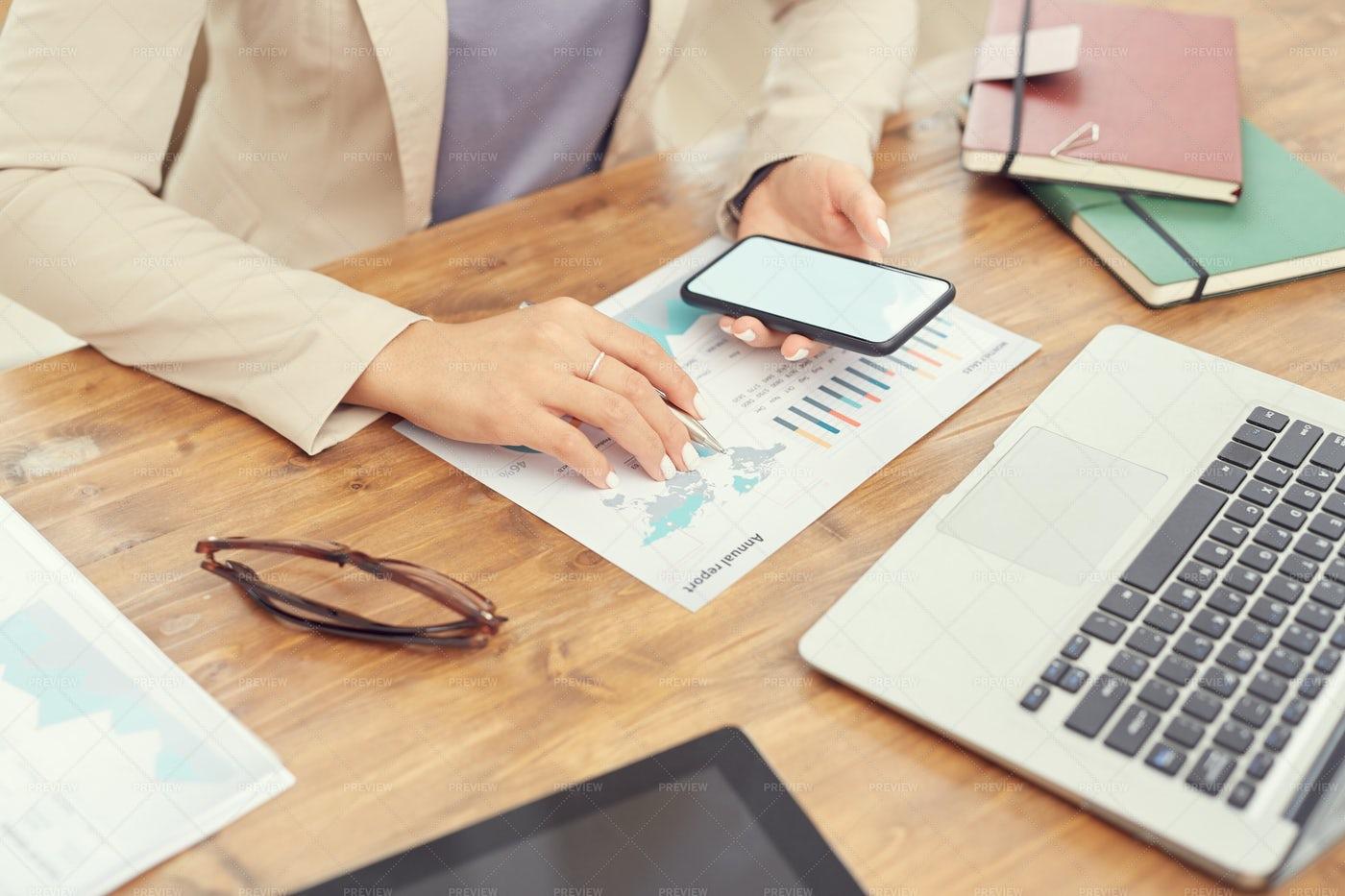 Businesswoman At Workplace Closeup: Stock Photos