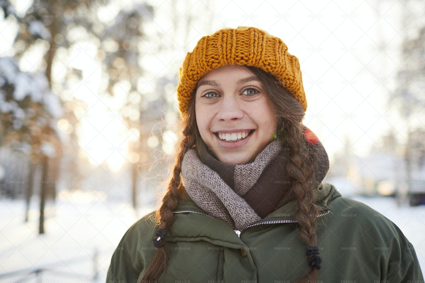 Happy Girl In Winter Park: Stock Photos