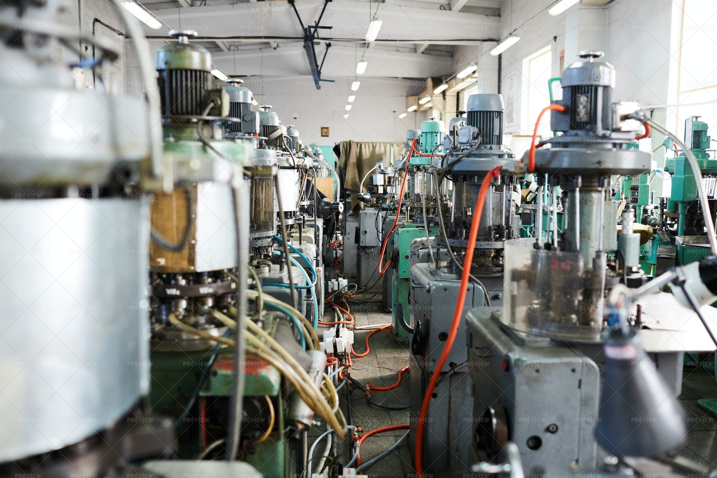 Industrial Machine Units In Background: Stock Photos